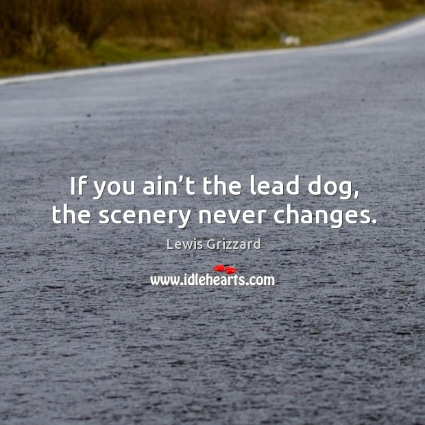 If you ain't the lead dog, the scenery never changes. Lewis Grizzard Picture Quote