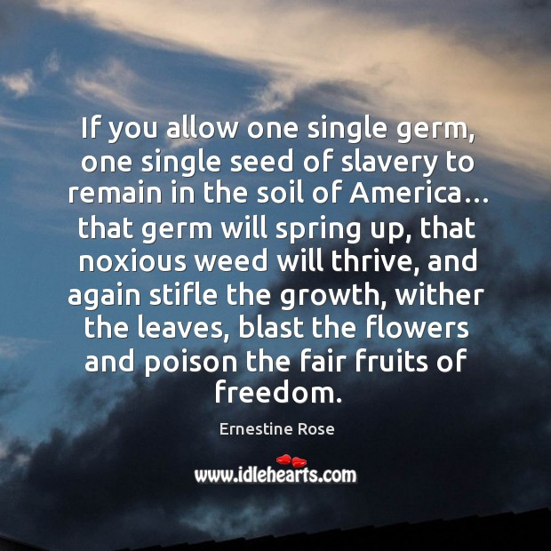 If you allow one single germ, one single seed of slavery to remain in the soil of america… Image