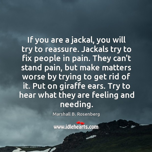If you are a jackal, you will try to reassure. Jackals try Image