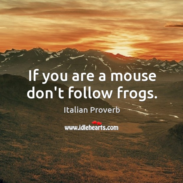 If you are a mouse don't follow frogs. Italian Proverbs Image