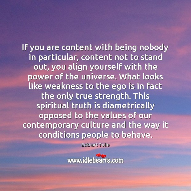 Image, If you are content with being nobody in particular, content not to