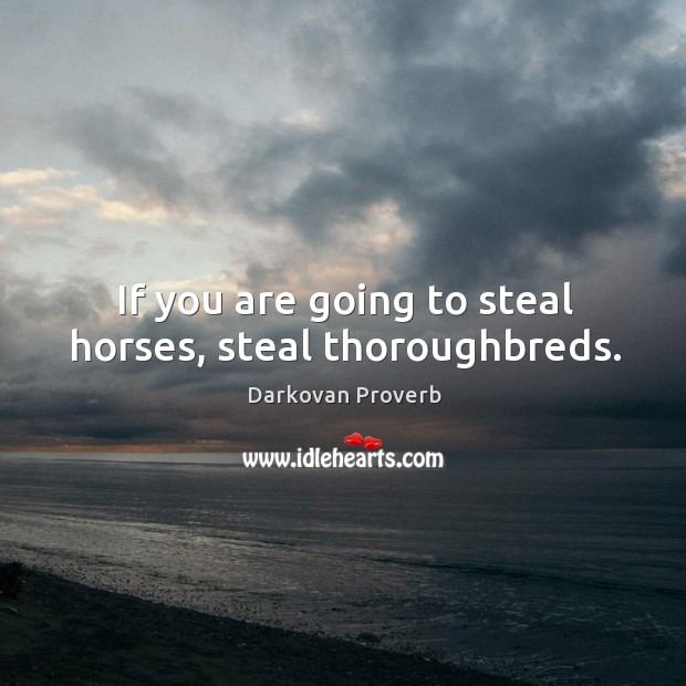 If you are going to steal horses, steal thoroughbreds. Darkovan Proverbs Image