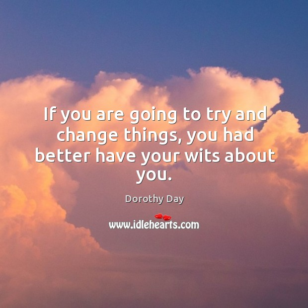 If you are going to try and change things, you had better have your wits about you. Dorothy Day Picture Quote
