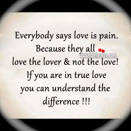 Image, Everybody says love is pain.