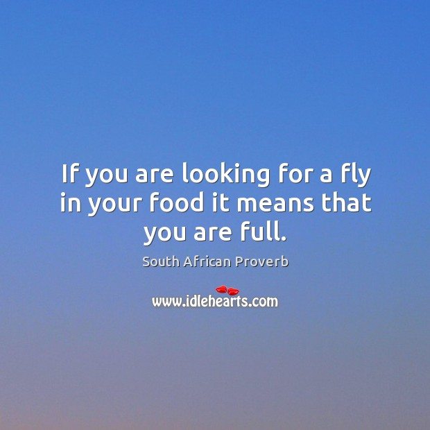 If you are looking for a fly in your food it means that you are full. South African Proverbs Image