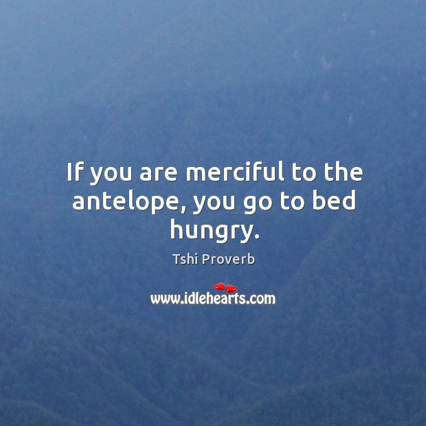 If you are merciful to the antelope, you go to bed hungry. Tshi Proverbs Image