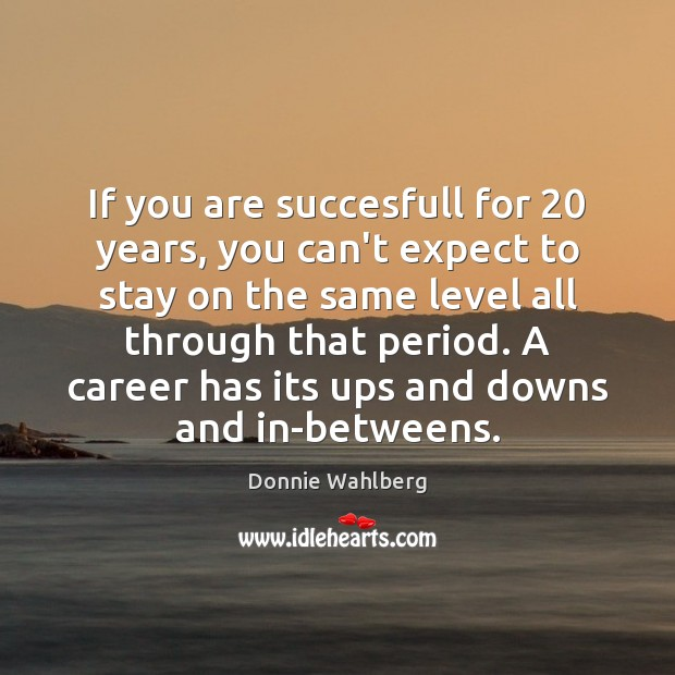 If you are succesfull for 20 years, you can't expect to stay on Donnie Wahlberg Picture Quote