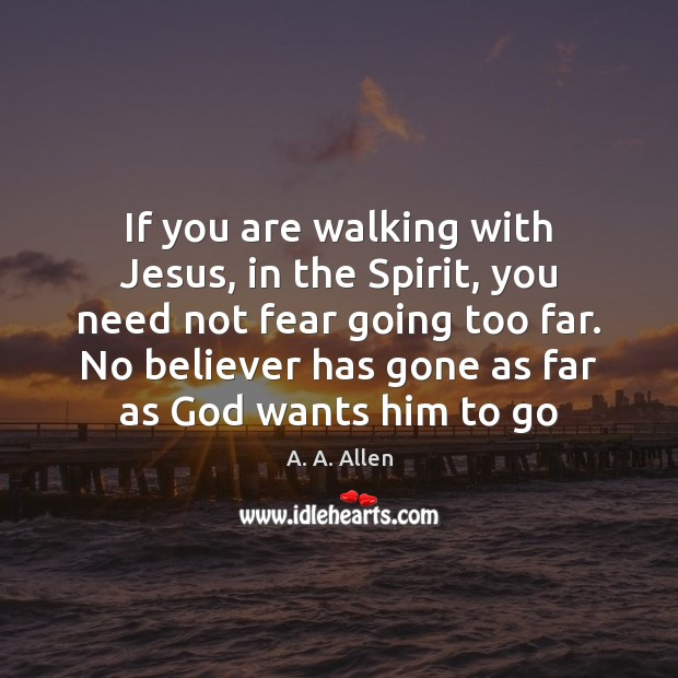 If you are walking with Jesus, in the Spirit, you need not Image