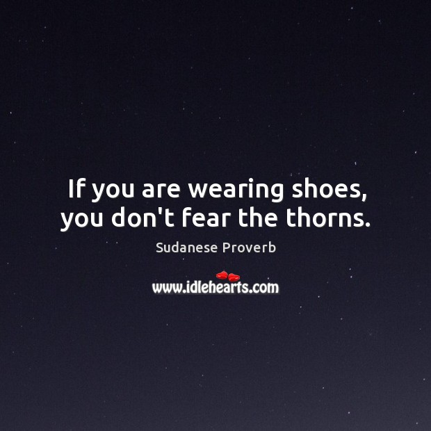 If you are wearing shoes, you don't fear the thorns. Sudanese Proverbs Image