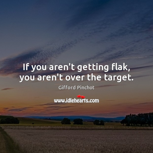 If you aren't getting flak, you aren't over the target. Gifford Pinchot Picture Quote