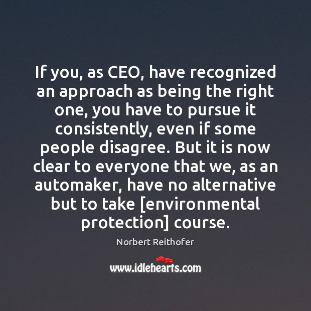 If you, as CEO, have recognized an approach as being the right Image