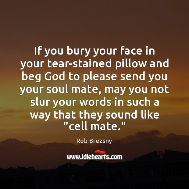 If you bury your face in your tear-stained pillow and beg God Rob Brezsny Picture Quote
