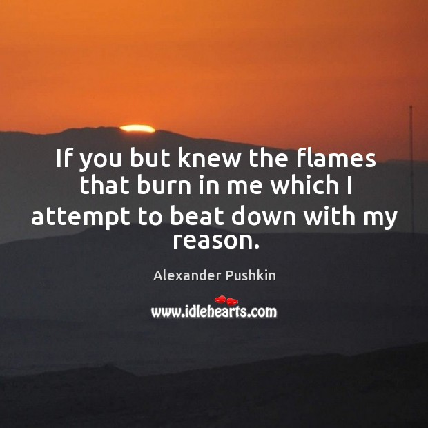If you but knew the flames that burn in me which I attempt to beat down with my reason. Image