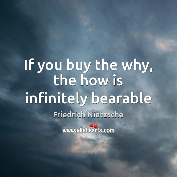 If you buy the why, the how is infinitely bearable Image