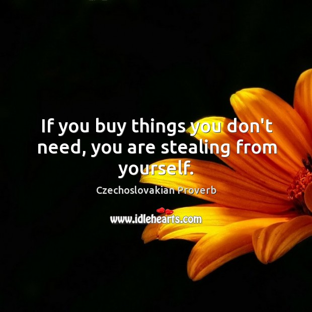 If you buy things you don't need, you are stealing from yourself. Czechoslovakian Proverbs Image