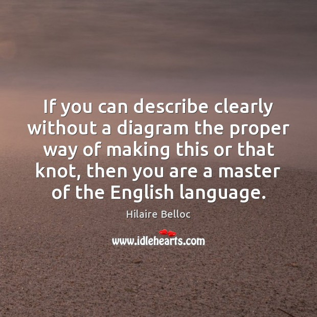 If you can describe clearly without a diagram the proper way of Hilaire Belloc Picture Quote