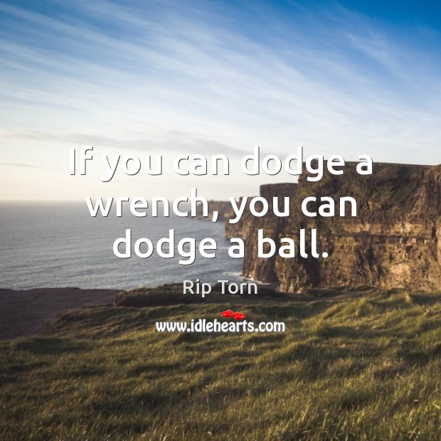 If you can dodge a wrench, you can dodge a ball. Rip Torn Picture Quote