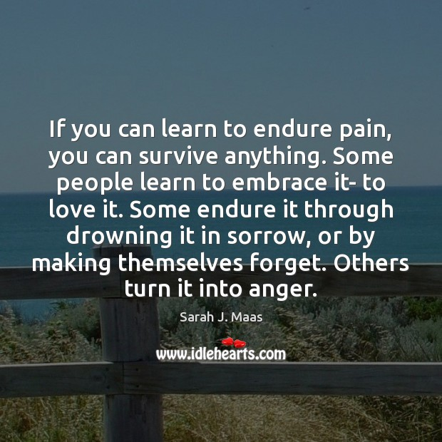If you can learn to endure pain, you can survive anything. Some Sarah J. Maas Picture Quote
