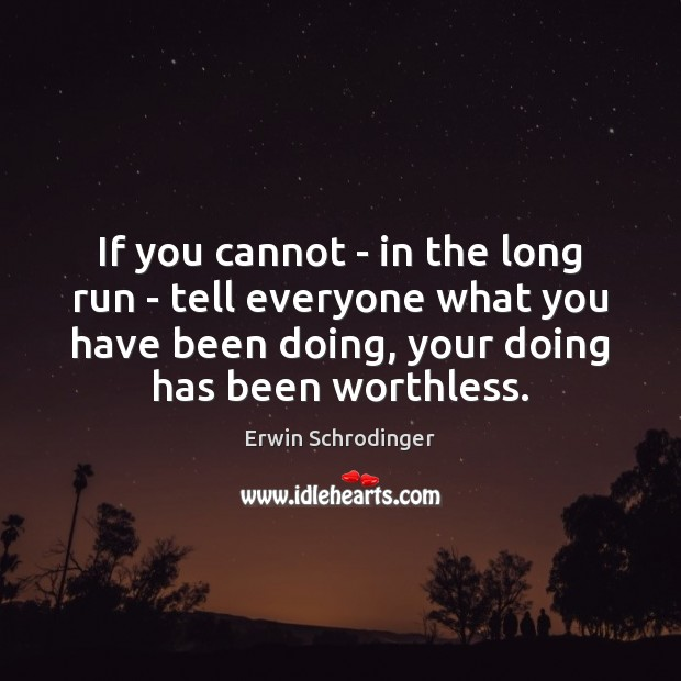 If you cannot – in the long run – tell everyone what Erwin Schrodinger Picture Quote