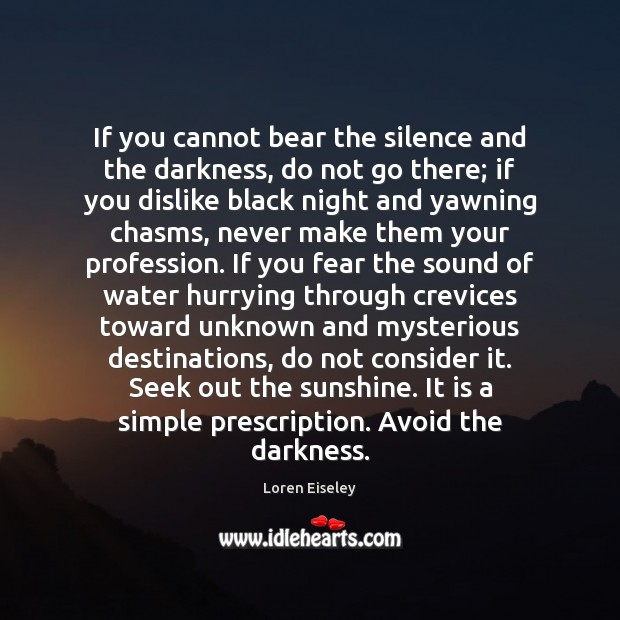 If you cannot bear the silence and the darkness, do not go Loren Eiseley Picture Quote