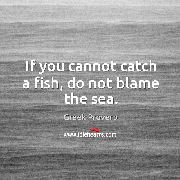 Image, If you cannot catch a fish, do not blame the sea.