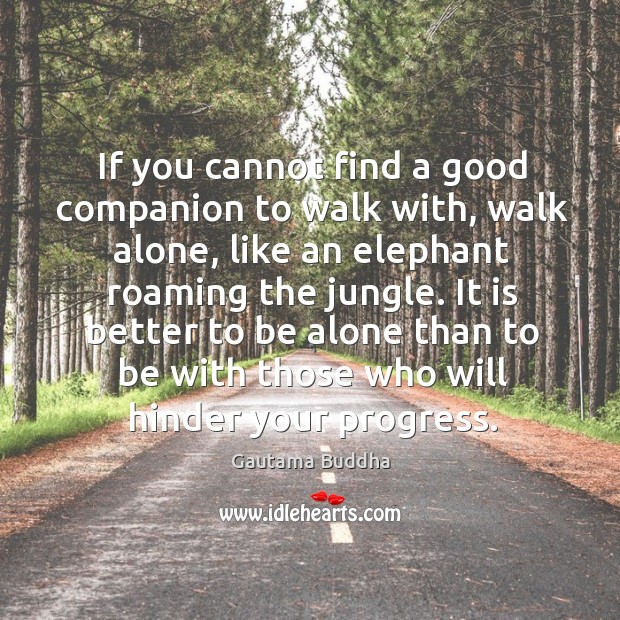 Image, If you cannot find a good companion to walk with, walk alone,