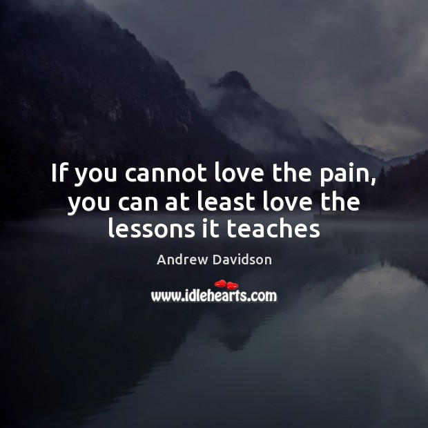 Image, If you cannot love the pain, you can at least love the lessons it teaches