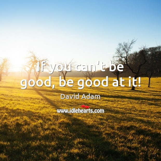 If you can't be good, be good at it! Image