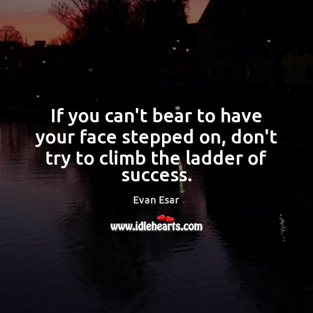 If you can't bear to have your face stepped on, don't try to climb the ladder of success. Evan Esar Picture Quote