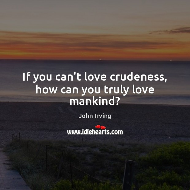 If you can't love crudeness, how can you truly love mankind? John Irving Picture Quote