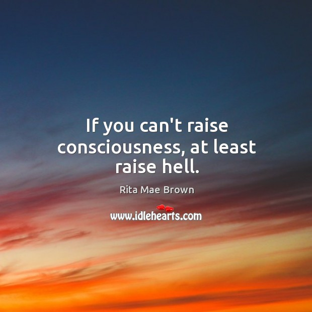If you can't raise consciousness, at least raise hell. Image