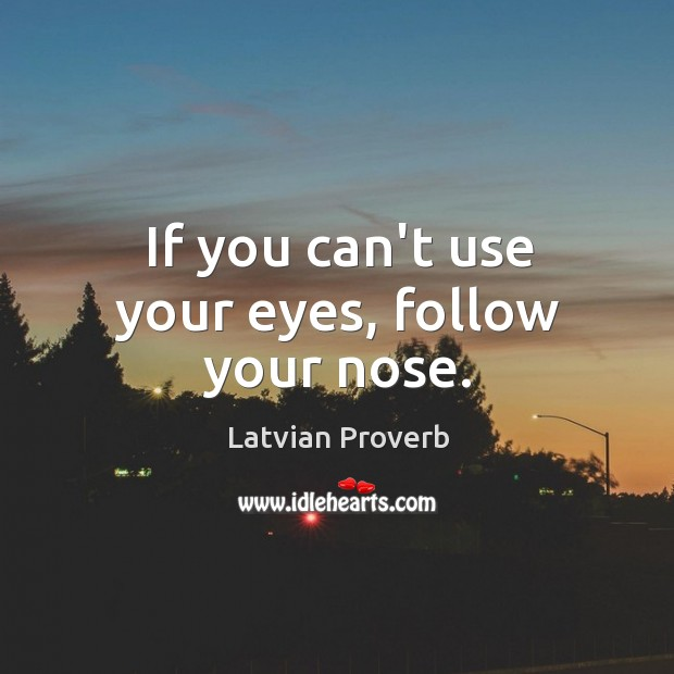 If you can't use your eyes, follow your nose. Latvian Proverbs Image