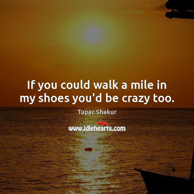 Image, If you could walk a mile in my shoes you'd be crazy too.