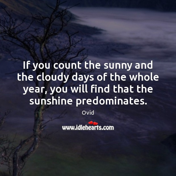 If you count the sunny and the cloudy days of the whole Image