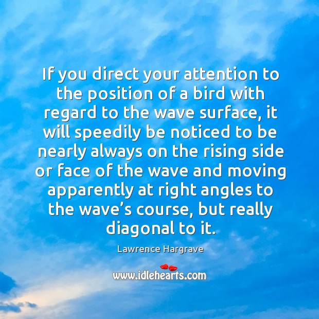 If you direct your attention to the position of a bird with regard to the wave surface Image