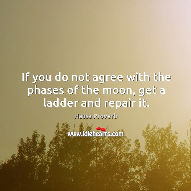 If you do not agree with the phases of the moon, get a ladder and repair it. Hausa Proverbs Image