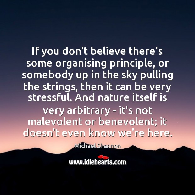 If you don't believe there's some organising principle, or somebody up in Image