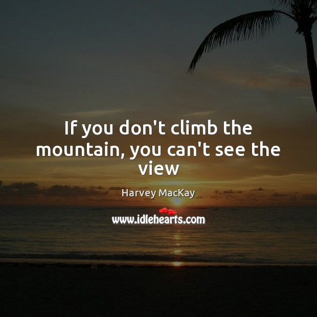 If you don't climb the mountain, you can't see the view Harvey MacKay Picture Quote