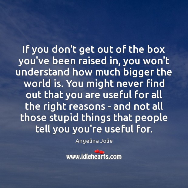 If you don't get out of the box you've been raised in, Image