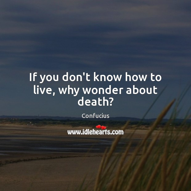Image, If you don't know how to live, why wonder about death?