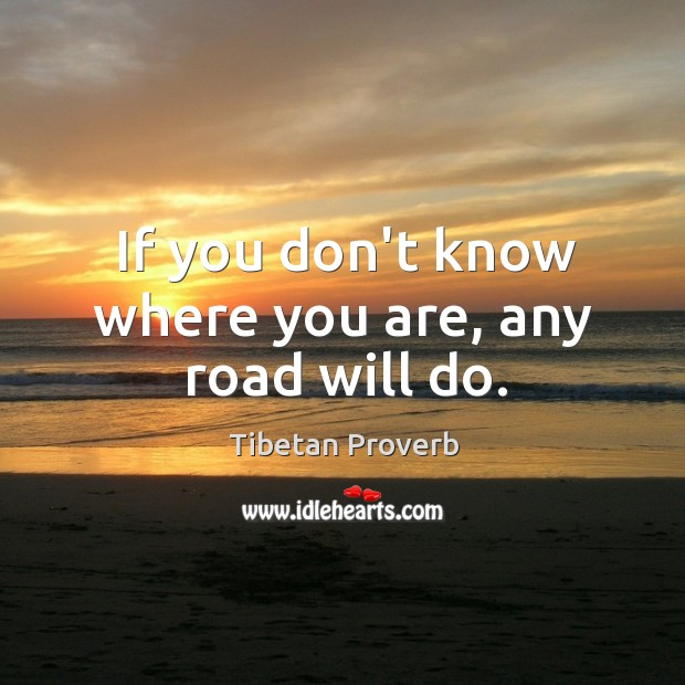 If you don't know where you are, any road will do. Tibetan Proverbs Image
