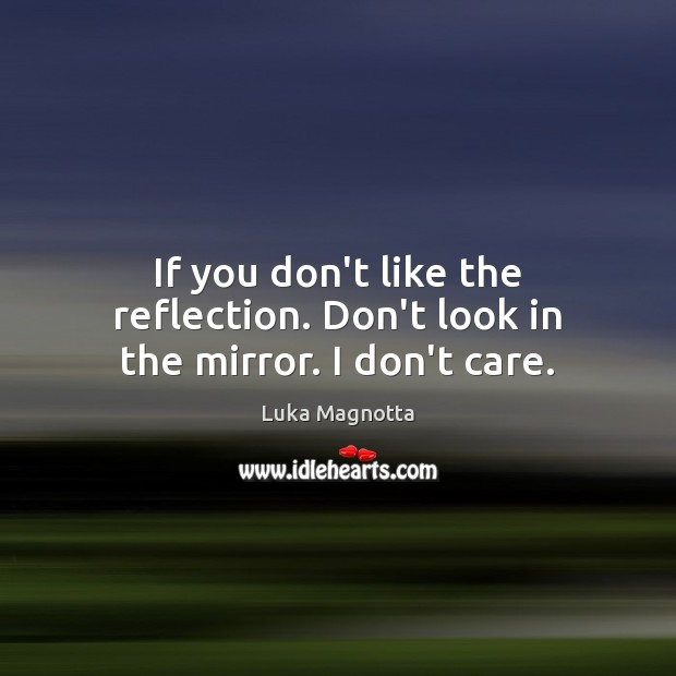 If you don't like the reflection. Don't look in the mirror. I don't care. I Don't Care Quotes Image