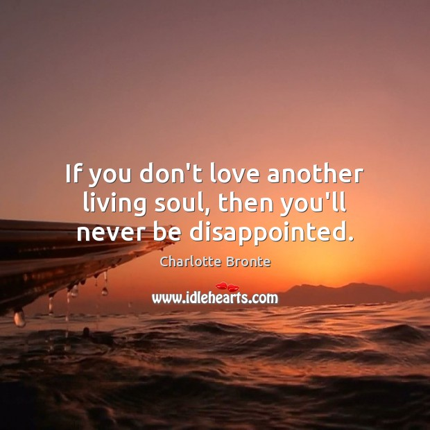 If you don't love another living soul, then you'll never be disappointed. Charlotte Bronte Picture Quote