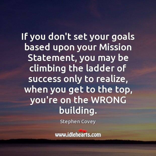 If you don't set your goals based upon your Mission Statement, you Image