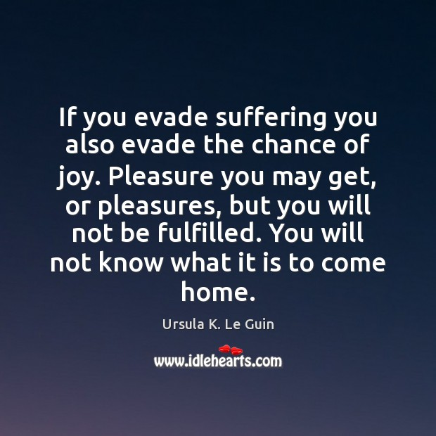 If you evade suffering you also evade the chance of joy. Pleasure Ursula K. Le Guin Picture Quote