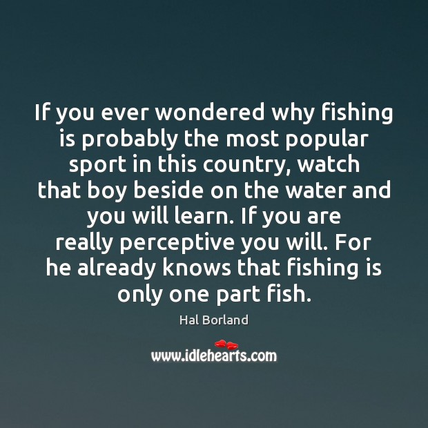 Hal Borland Picture Quote image saying: If you ever wondered why fishing is probably the most popular sport