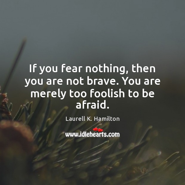 Image, If you fear nothing, then you are not brave. You are merely too foolish to be afraid.