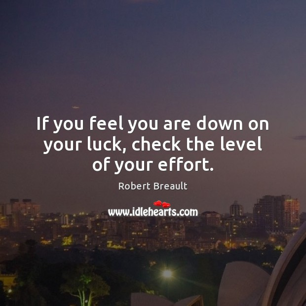 If you feel you are down on your luck, check the level of your effort. Robert Breault Picture Quote