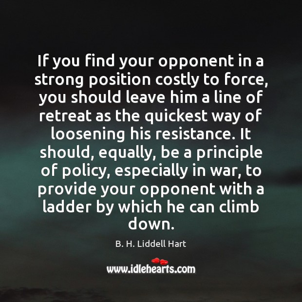 If you find your opponent in a strong position costly to force, B. H. Liddell Hart Picture Quote