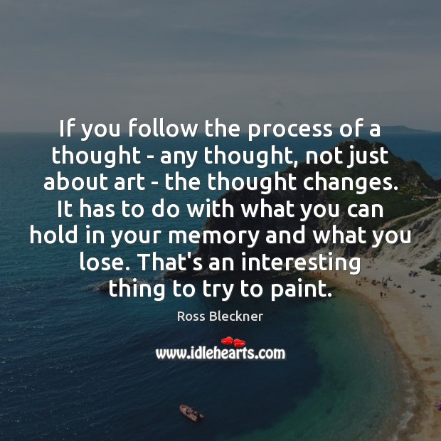 If you follow the process of a thought – any thought, not Image